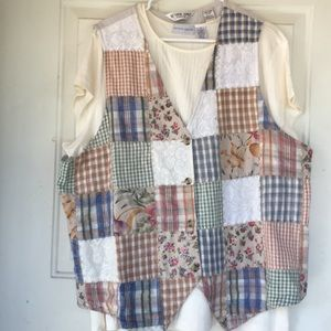 Plus size patchwork vest.